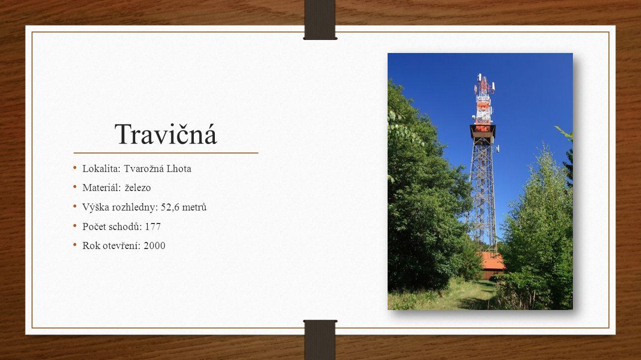 Doubí Lokalita: Vážany Materiál: dřevo Výška rozhledny: 8 metrů Počet schodů: 33 Rok otevření: 2006