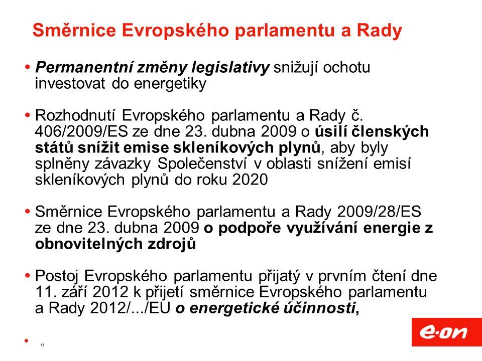 11 Směrnice Evropského parlamentu a Rady  Permanentní změny legislativy snižují ochotu investovat do energetiky  Rozhodnutí Evropského parlamentu a Rady č.