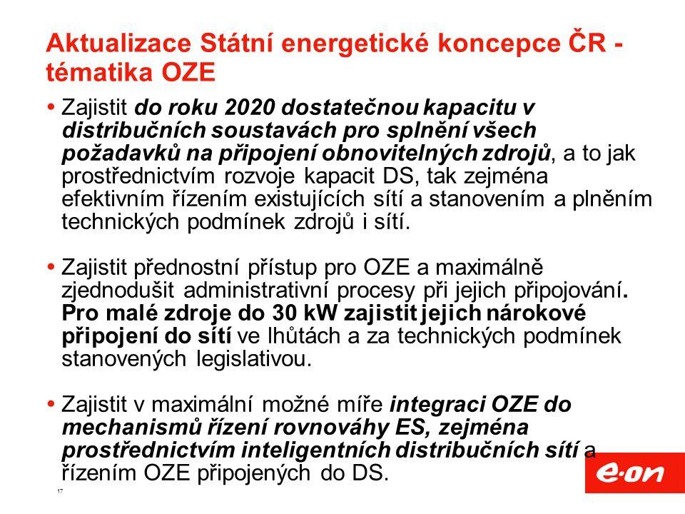 17 Aktualizace Státní energetické koncepce ČR - tématika OZE  Zajistit do roku 2020 dostatečnou kapacitu v distribučních soustavách pro splnění všech požadavků na připojení obnovitelných zdrojů, a to jak prostřednictvím rozvoje kapacit DS, tak zejména efektivním řízením existujících sítí a stanovením a plněním technických podmínek zdrojů i sítí.