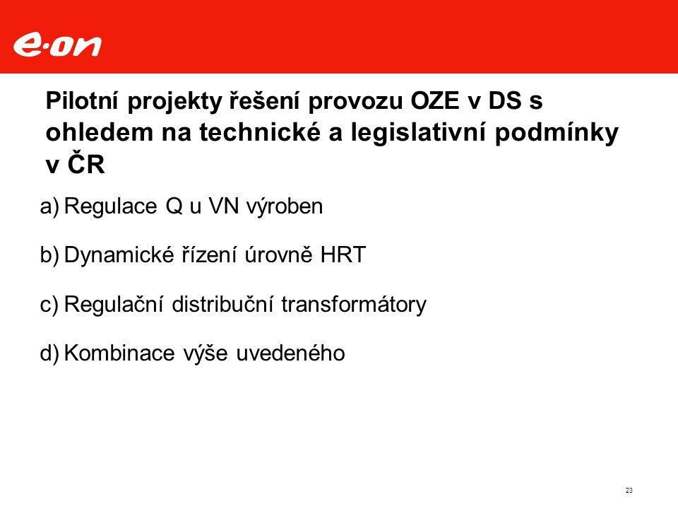 23 Pilotní projekty řešení provozu OZE v DS s ohledem na technické a legislativní podmínky v ČR a)Regulace Q u VN výroben b)Dynamické řízení úrovně HRT c)Regulační distribuční transformátory d)Kombinace výše uvedeného