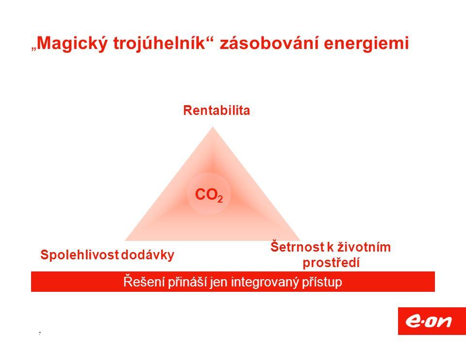 """7 """" Magický trojúhelník zásobování energiemi Šetrnost k životním prostředí Rentabilita Spolehlivost dodávky Řešení přináší jen integrovaný přístup CO 2"""