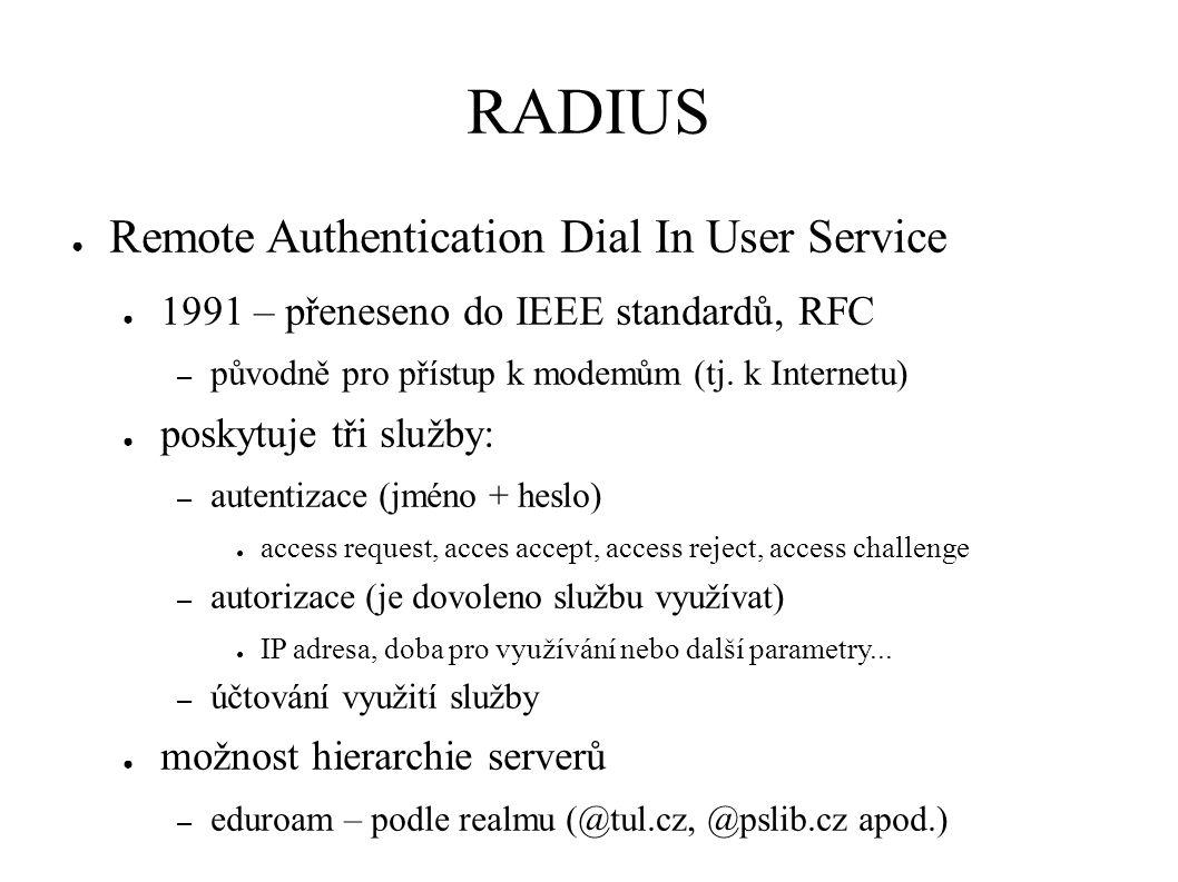RADIUS ● Remote Authentication Dial In User Service ● 1991 – přeneseno do IEEE standardů, RFC – původně pro přístup k modemům (tj.