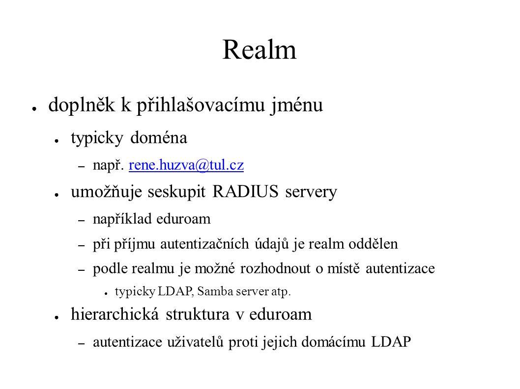 Realm ● doplněk k přihlašovacímu jménu ● typicky doména – např.