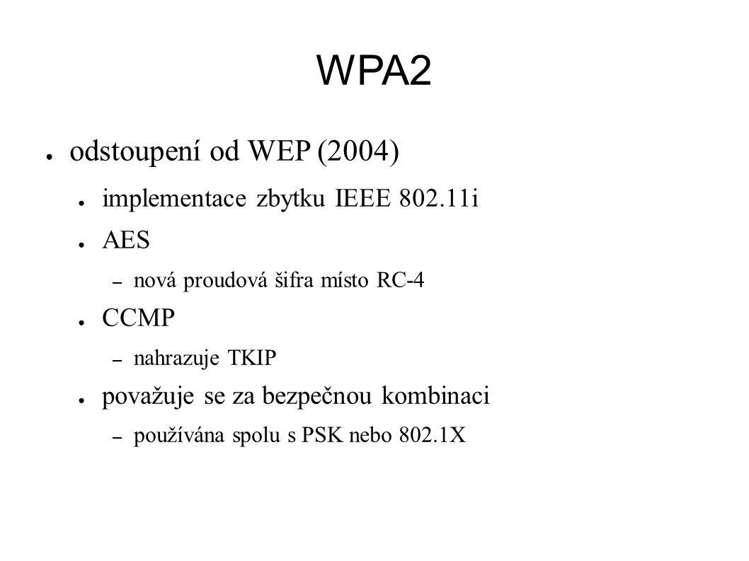 WPA2 ● odstoupení od WEP (2004) ● implementace zbytku IEEE 802.11i ● AES – nová proudová šifra místo RC-4 ● CCMP – nahrazuje TKIP ● považuje se za bezpečnou kombinaci – používána spolu s PSK nebo 802.1X
