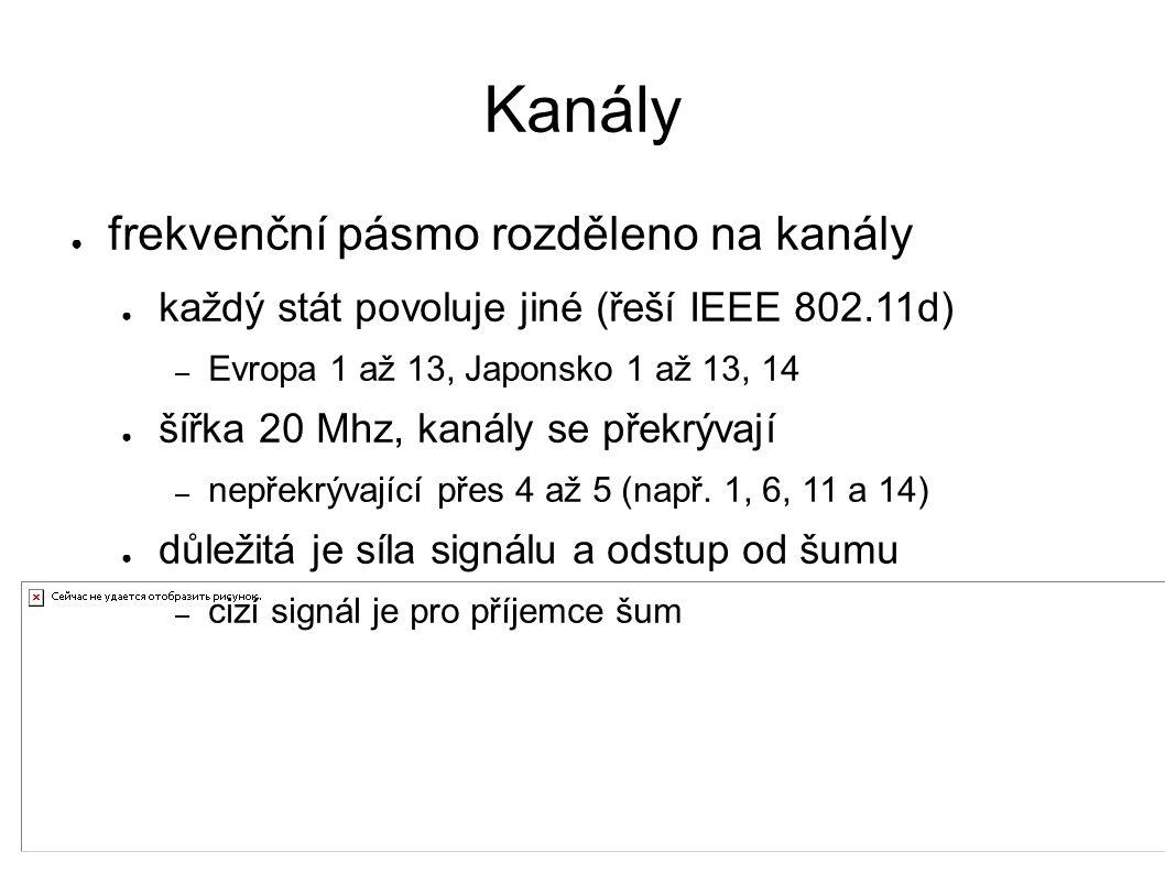 Kanály ● frekvenční pásmo rozděleno na kanály ● každý stát povoluje jiné (řeší IEEE 802.11d) – Evropa 1 až 13, Japonsko 1 až 13, 14 ● šířka 20 Mhz, kanály se překrývají – nepřekrývající přes 4 až 5 (např.