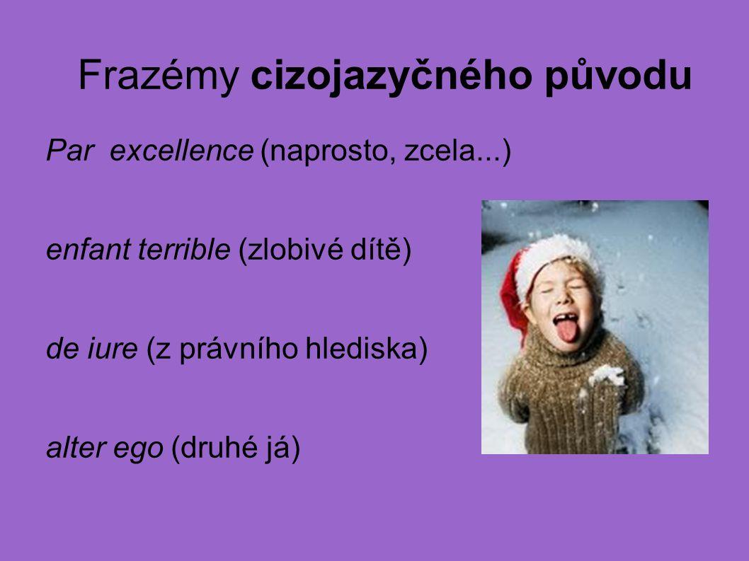 Frazémy cizojazyčného původu Par excellence (naprosto, zcela...) enfant terrible (zlobivé dítě) de iure (z právního hlediska) alter ego (druhé já)