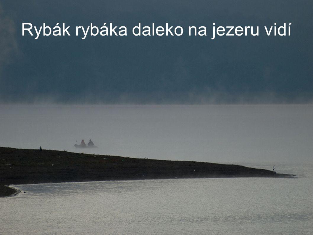 Rybák rybáka daleko na jezeru vidí