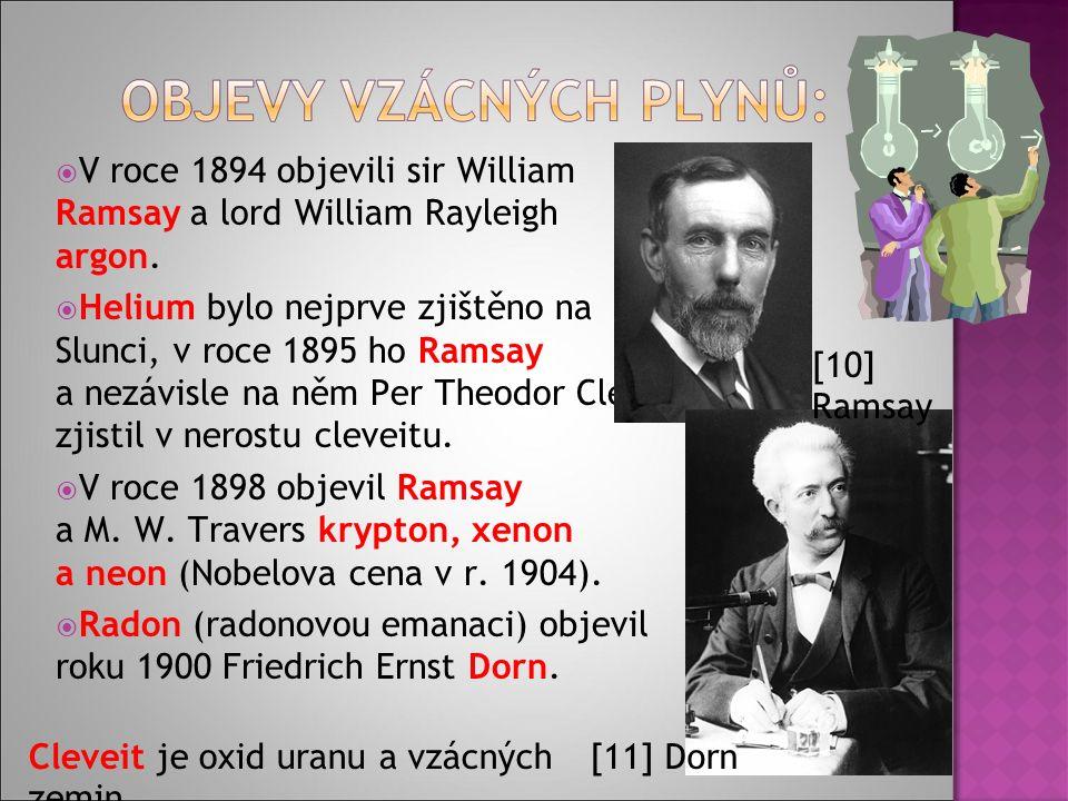  V roce 1894 objevili sir William Ramsay a lord William Rayleigh argon.