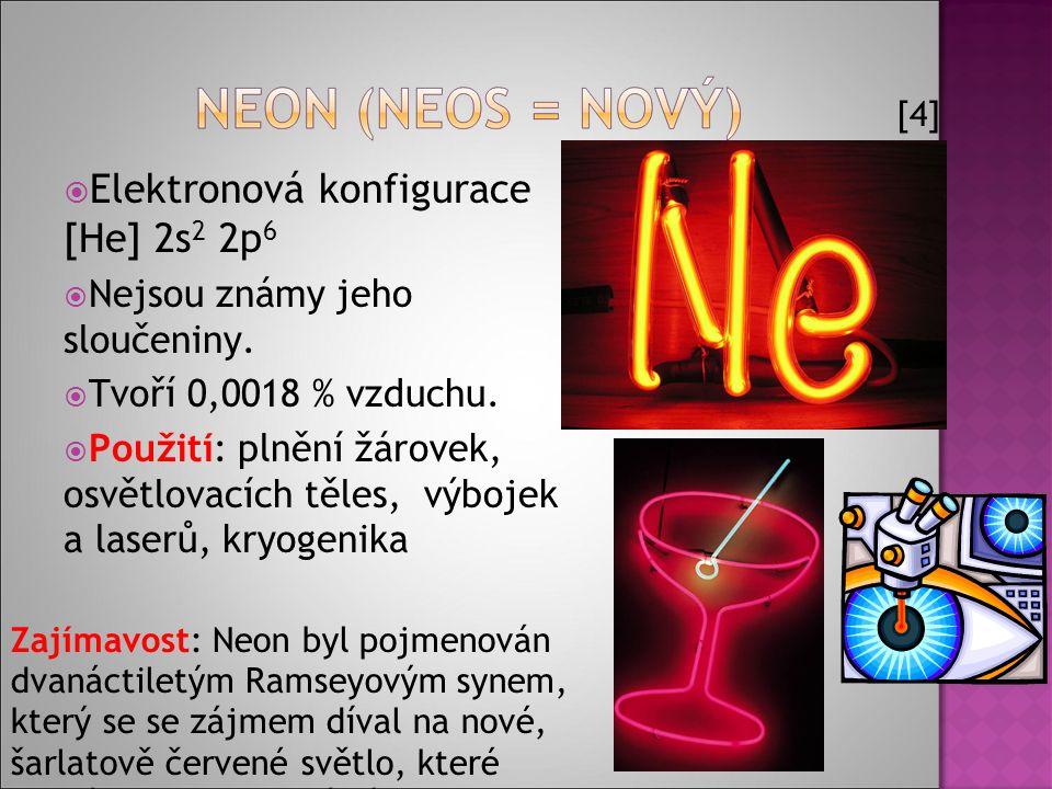  Elektronová konfigurace [He] 2s 2 2p 6  Nejsou známy jeho sloučeniny.