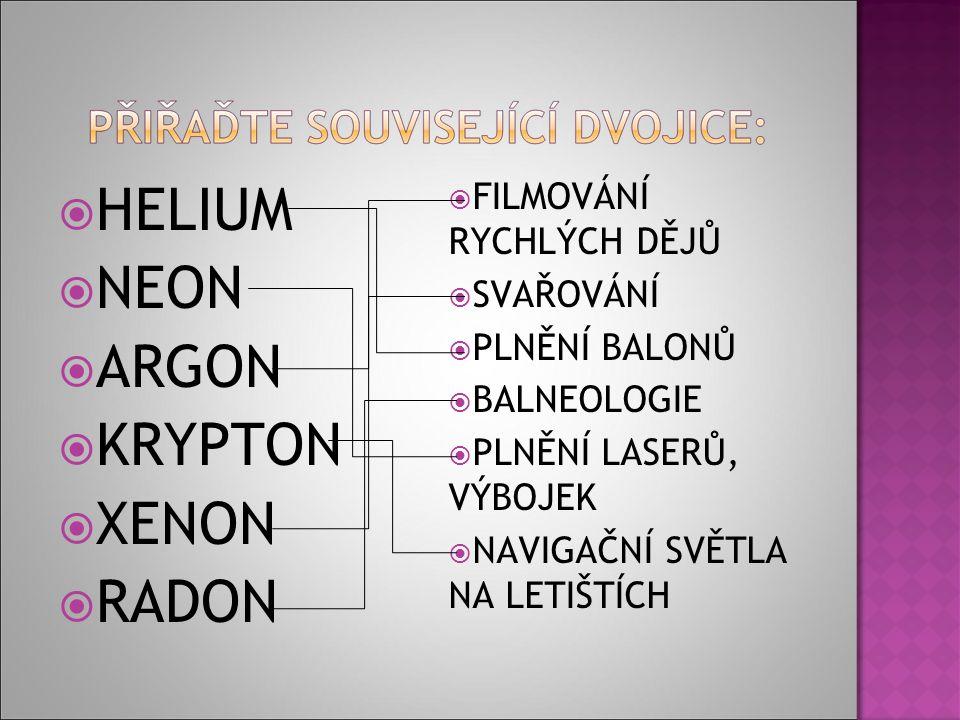  HELIUM  NEON  ARGON  KRYPTON  XENON  RADON  FILMOVÁNÍ RYCHLÝCH DĚJŮ  SVAŘOVÁNÍ  PLNĚNÍ BALONŮ  BALNEOLOGIE  PLNĚNÍ LASERŮ, VÝBOJEK  NAVIGAČNÍ SVĚTLA NA LETIŠTÍCH