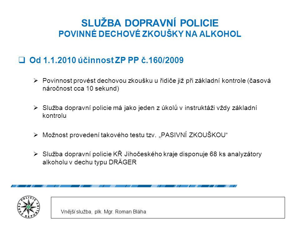 SLUŽBA DOPRAVNÍ POLICIE POVINNÉ DECHOVÉ ZKOUŠKY NA ALKOHOL  Od 1.1.2010 účinnost ZP PP č.160/2009  Povinnost provést dechovou zkoušku u řidiče již při základní kontrole (časová náročnost cca 10 sekund)  Služba dopravní policie má jako jeden z úkolů v instruktáži vždy základní kontrolu  Možnost provedení takového testu tzv.
