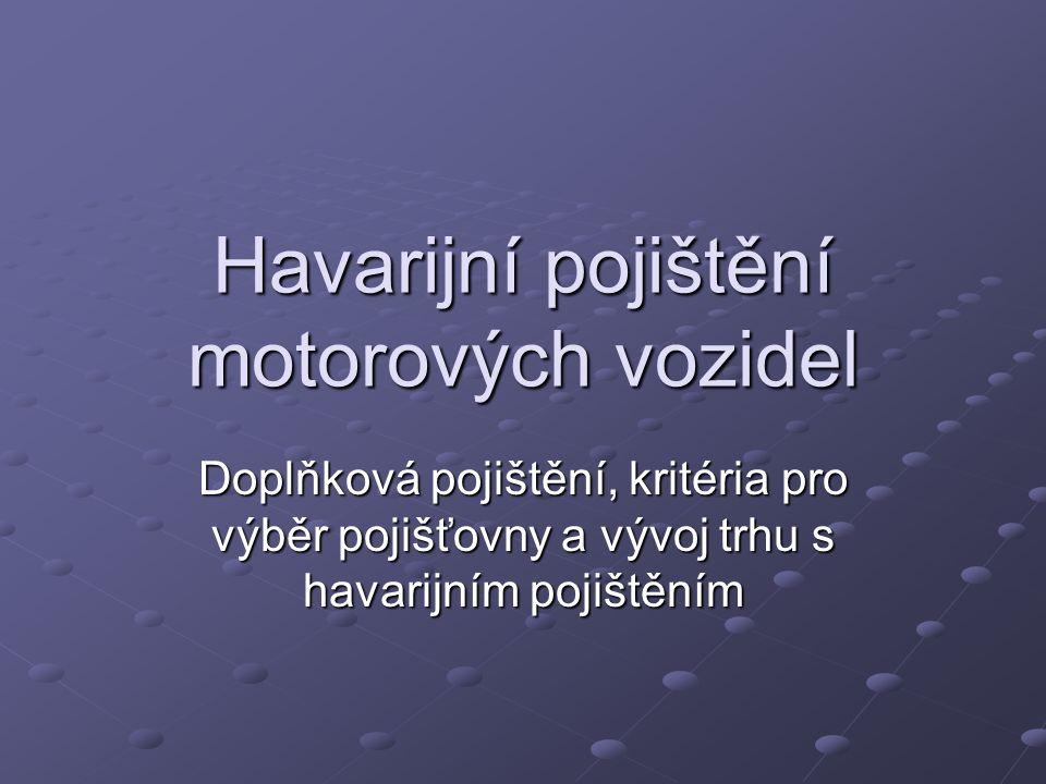 Havarijní pojištění motorových vozidel Doplňková pojištění, kritéria pro výběr pojišťovny a vývoj trhu s havarijním pojištěním