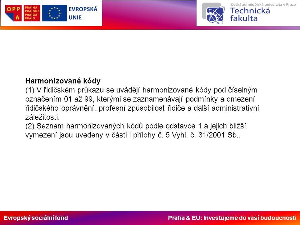 Evropský sociální fond Praha & EU: Investujeme do vaší budoucnosti Harmonizované kódy (1) V řidičském průkazu se uvádějí harmonizované kódy pod číseln