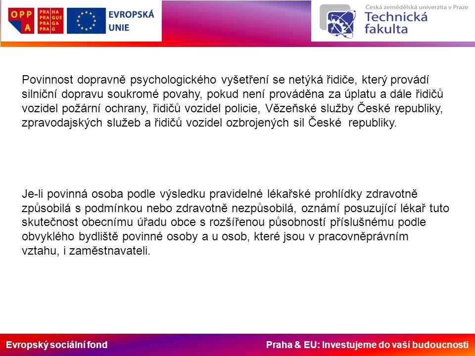 Evropský sociální fond Praha & EU: Investujeme do vaší budoucnosti Povinnost dopravně psychologického vyšetření se netýká řidiče, který provádí silnič
