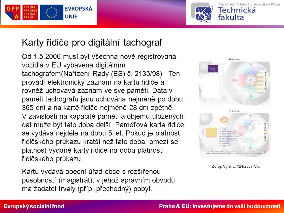 Evropský sociální fond Praha & EU: Investujeme do vaší budoucnosti Karty řidiče pro digitální tachograf Od 1.5.2006 musí být všechna nově registrovaná