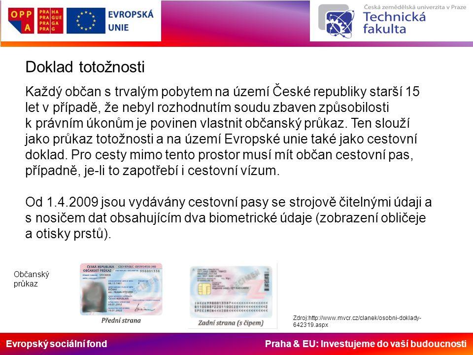 Evropský sociální fond Praha & EU: Investujeme do vaší budoucnosti Doklad totožnosti Každý občan s trvalým pobytem na území České republiky starší 15