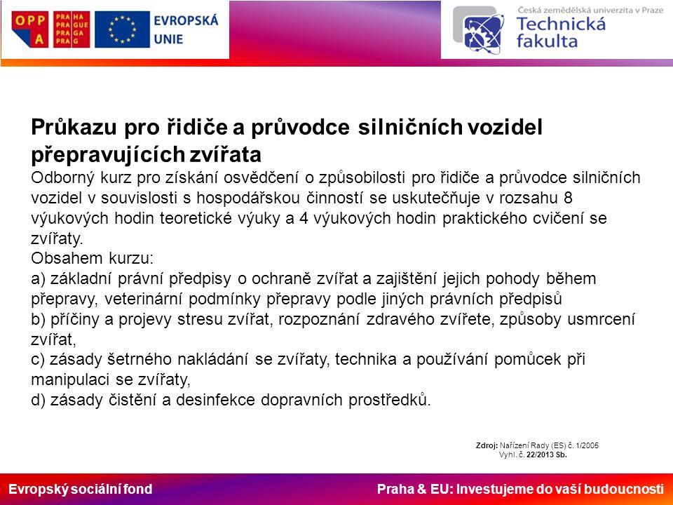 Evropský sociální fond Praha & EU: Investujeme do vaší budoucnosti Průkazu pro řidiče a průvodce silničních vozidel přepravujících zvířata Odborný kur