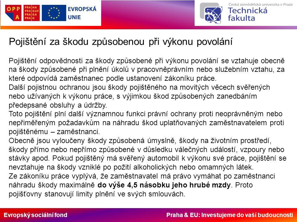 Evropský sociální fond Praha & EU: Investujeme do vaší budoucnosti Pojištění za škodu způsobenou při výkonu povolání Pojištění odpovědnosti za škody z