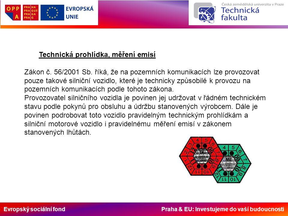 Evropský sociální fond Praha & EU: Investujeme do vaší budoucnosti Technická prohlídka, měření emisí Zákon č. 56/2001 Sb. říká, že na pozemních komuni