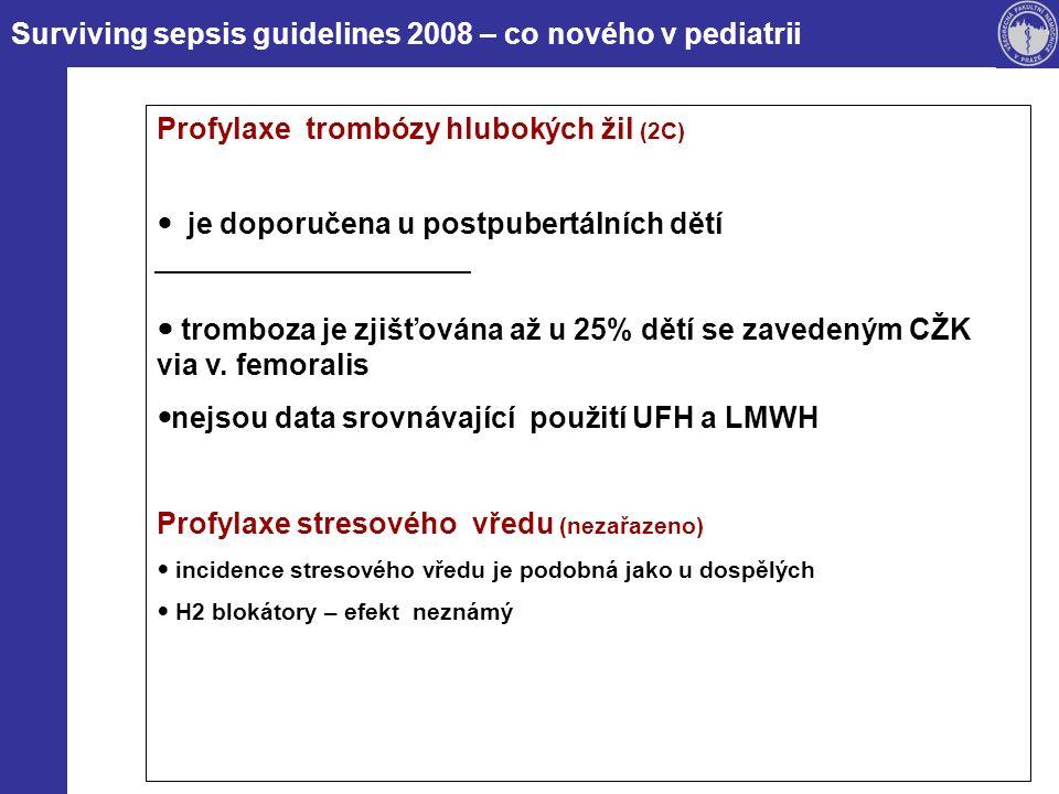Surviving sepsis guidelines 2008 – co nového v pediatrii Profylaxe trombózy hlubokých žil (2C) je doporučena u postpubertálních dětí tromboza je zjišťována až u 25% dětí se zavedeným CŽK via v.