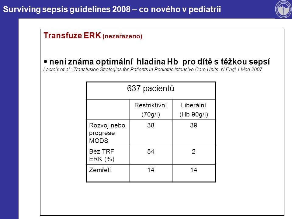 Surviving sepsis guidelines 2008 – co nového v pediatrii Transfuze ERK (nezařazeno) není známa optimální hladina Hb pro dítě s těžkou sepsí Lacroix et