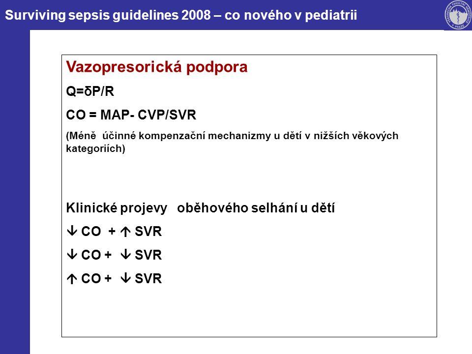 Surviving sepsis guidelines 2008 – co nového v pediatrii Vazopresorická podpora Dopamin (grade 2C) lék volby při hypotenzi refrakterní na objemovou resuscitaci Dobutamin (grade 2C)  CO +  SVR Adrenalin (bez zařazení)  CO +  SVR (Dopamin refrakterní šok) Noradrenalin (bez zařazení)  CO +  SVR Inhibitory fosfodiesterázy III (bez zařazení)  CO +  SVR (normotenzní) Vazopresin a kalciové sensitizéry (bez zařazení)