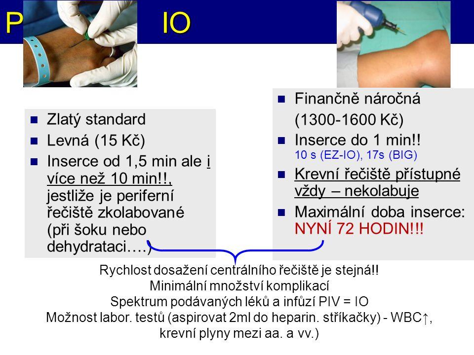 PIV vs. IO Finančně náročná (1300-1600 Kč) Inserce do 1 min!! 10 s (EZ-IO), 17s (BIG) Krevní řečiště přístupné vždy – nekolabuje Maximální doba inserc