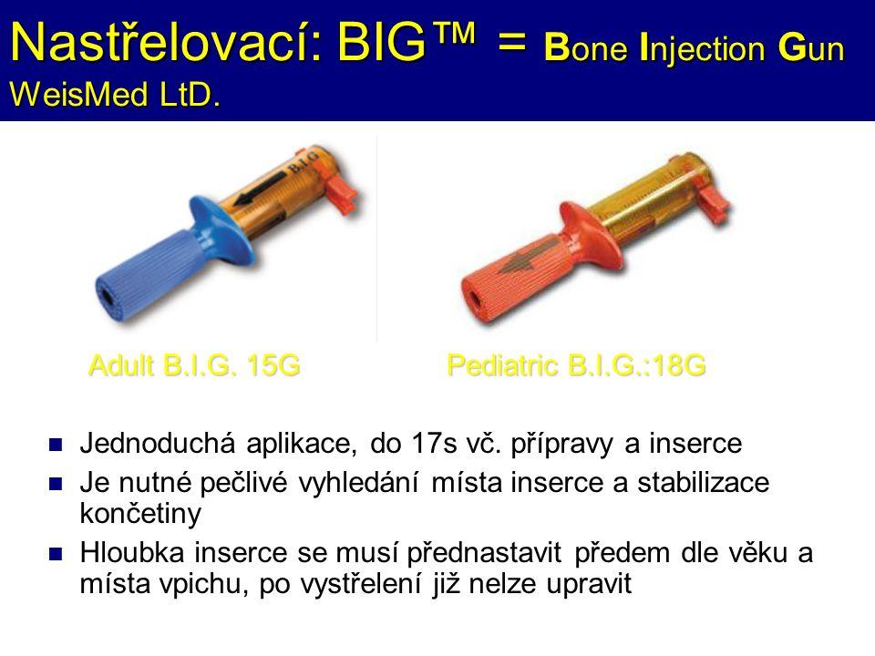Nastřelovací: BIG™ = B one I njection G un WeisMed LtD. Jednoduchá aplikace, do 17s vč. přípravy a inserce Je nutné pečlivé vyhledání místa inserce a