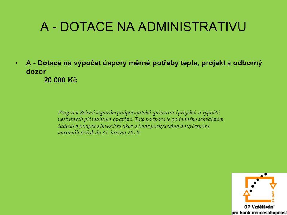 A - DOTACE NA ADMINISTRATIVU A - Dotace na výpočet úspory měrné potřeby tepla, projekt a odborný dozor 20 000 Kč Program Zelená úsporám podporuje také zpracování projektů a výpočtů nezbytných při realizaci opatření.