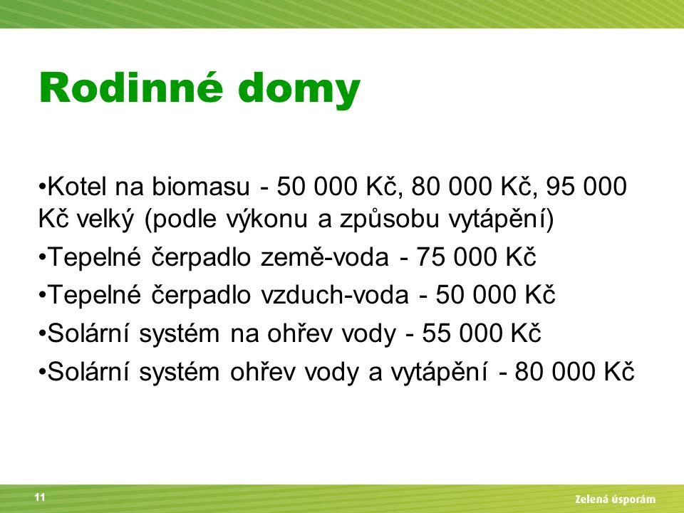 Rodinné domy Kotel na biomasu - 50 000 Kč, 80 000 Kč, 95 000 Kč velký (podle výkonu a způsobu vytápění) Tepelné čerpadlo země-voda - 75 000 Kč Tepelné