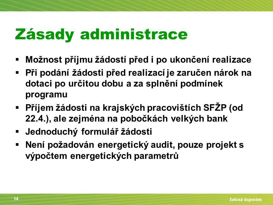 Zásady administrace  Možnost příjmu žádostí před i po ukončení realizace  Při podání žádosti před realizací je zaručen nárok na dotaci po určitou do