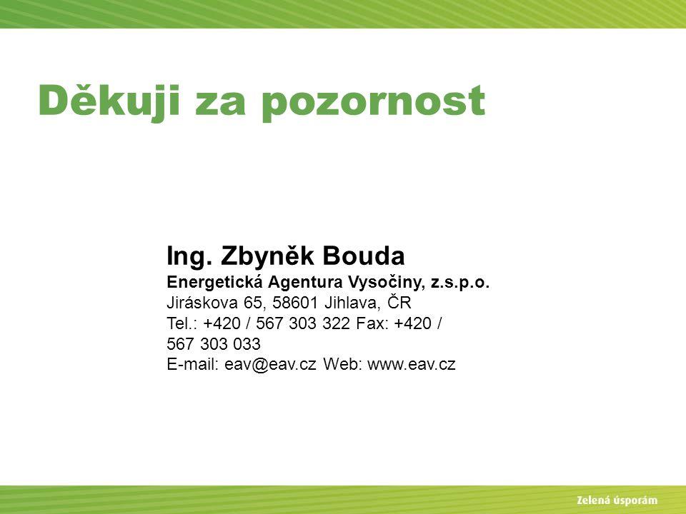Děkuji za pozornost Ing. Zbyněk Bouda Energetická Agentura Vysočiny, z.s.p.o. Jiráskova 65, 58601 Jihlava, ČR Tel.: +420 / 567 303 322 Fax: +420 / 567