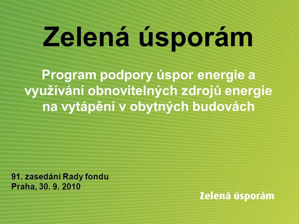 Zelená úsporám Program podpory úspor energie a využívání obnovitelných zdrojů energie na vytápění v obytných budovách 91. zasedání Rady fondu Praha, 3