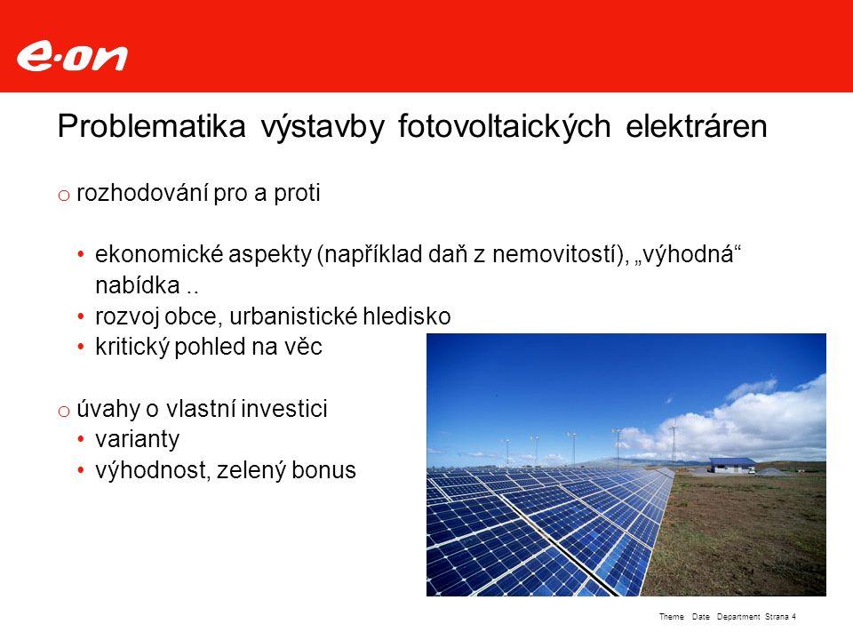 """Strana 4Theme Date Department Problematika výstavby fotovoltaických elektráren o rozhodování pro a proti ekonomické aspekty (například daň z nemovitostí), """"výhodná nabídka.."""