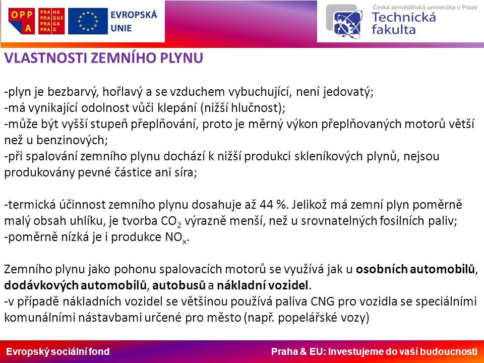 Evropský sociální fond Praha & EU: Investujeme do vaší budoucnosti VLASTNOSTI ZEMNÍHO PLYNU -plyn je bezbarvý, hořlavý a se vzduchem vybuchující, není