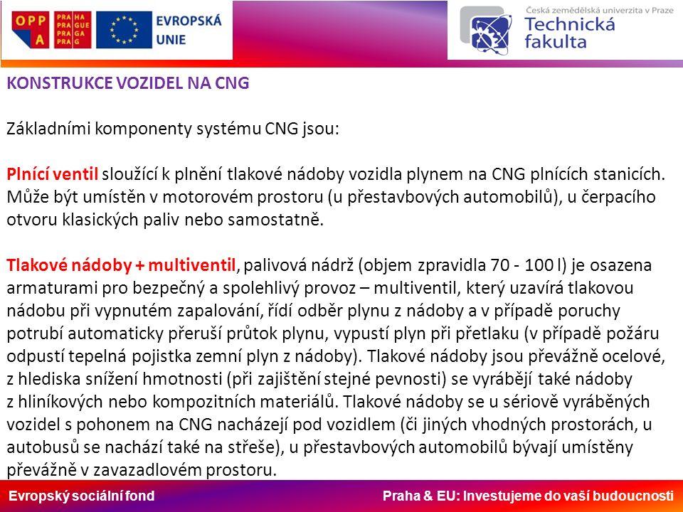 Evropský sociální fond Praha & EU: Investujeme do vaší budoucnosti KONSTRUKCE VOZIDEL NA CNG Základními komponenty systému CNG jsou: Plnící ventil sloužící k plnění tlakové nádoby vozidla plynem na CNG plnících stanicích.