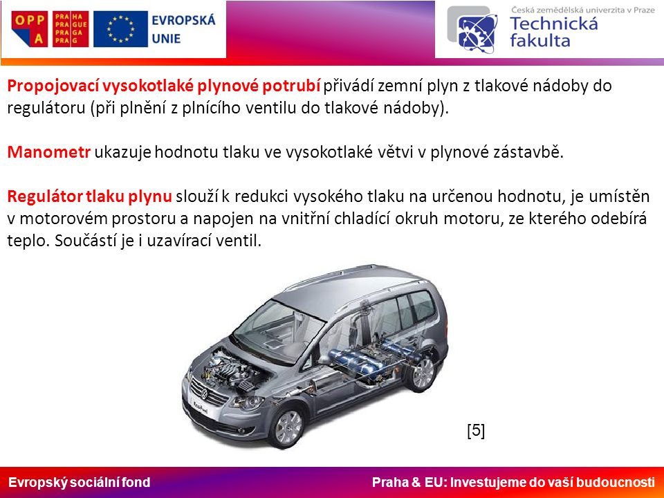 Evropský sociální fond Praha & EU: Investujeme do vaší budoucnosti Propojovací vysokotlaké plynové potrubí přivádí zemní plyn z tlakové nádoby do regulátoru (při plnění z plnícího ventilu do tlakové nádoby).