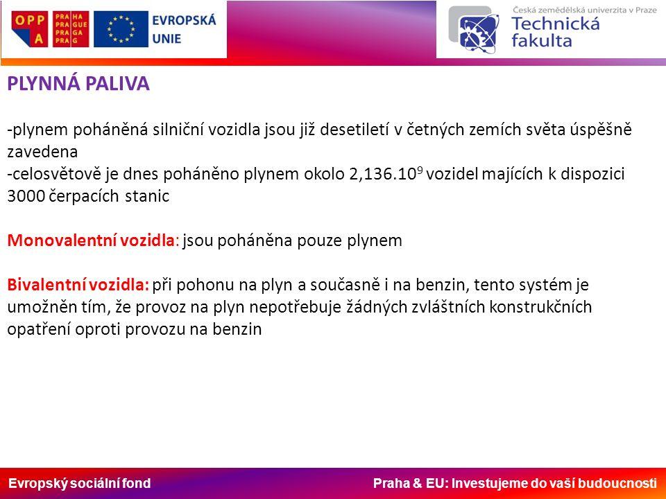 Evropský sociální fond Praha & EU: Investujeme do vaší budoucnosti PLYNNÁ PALIVA -plynem poháněná silniční vozidla jsou již desetiletí v četných zemích světa úspěšně zavedena -celosvětově je dnes poháněno plynem okolo 2,136.10 9 vozidel majících k dispozici 3000 čerpacích stanic Monovalentní vozidla: jsou poháněna pouze plynem Bivalentní vozidla: při pohonu na plyn a současně i na benzin, tento systém je umožněn tím, že provoz na plyn nepotřebuje žádných zvláštních konstrukčních opatření oproti provozu na benzin