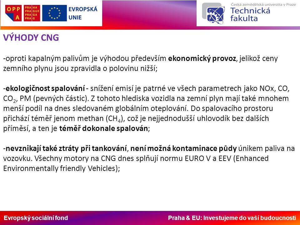 Evropský sociální fond Praha & EU: Investujeme do vaší budoucnosti VÝHODY CNG -oproti kapalným palivům je výhodou především ekonomický provoz, jelikož ceny zemního plynu jsou zpravidla o polovinu nižší; -ekologičnost spalování - snížení emisí je patrné ve všech parametrech jako NOx, CO, CO 2, PM (pevných částic).