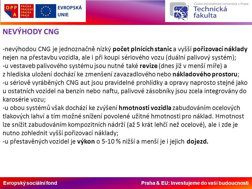 Evropský sociální fond Praha & EU: Investujeme do vaší budoucnosti NEVÝHODY CNG -nevýhodou CNG je jednoznačně nízký počet plnících stanic a vyšší pořizovací náklady nejen na přestavbu vozidla, ale i při koupi sériového vozu (duální palivový systém); -u vestaveb palivového systému jsou nutné také revize (dnes již v menší míře) a z hlediska uložení dochází ke zmenšení zavazadlového nebo nákladového prostoru; -u sériově vyráběných CNG aut jsou pravidelné prohlídky a opravy naprosto stejné jako u ostatních vozidel na benzín nebo naftu, palivové zásobníky jsou zcela integrovány do karosérie vozu; -u obou systémů však dochází ke zvýšení hmotnosti vozidla zabudováním ocelových tlakových lahví a tím možné snížení povolené užitné hmotnosti pro náklad.