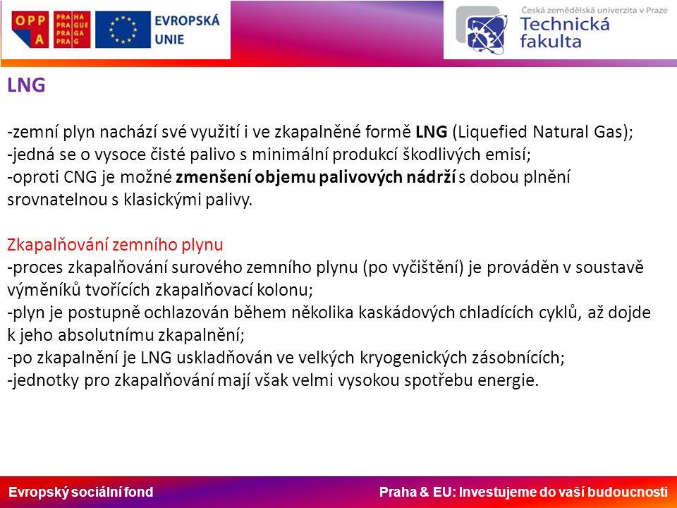 Evropský sociální fond Praha & EU: Investujeme do vaší budoucnosti LNG -zemní plyn nachází své využití i ve zkapalněné formě LNG (Liquefied Natural Gas); -jedná se o vysoce čisté palivo s minimální produkcí škodlivých emisí; -oproti CNG je možné zmenšení objemu palivových nádrží s dobou plnění srovnatelnou s klasickými palivy.