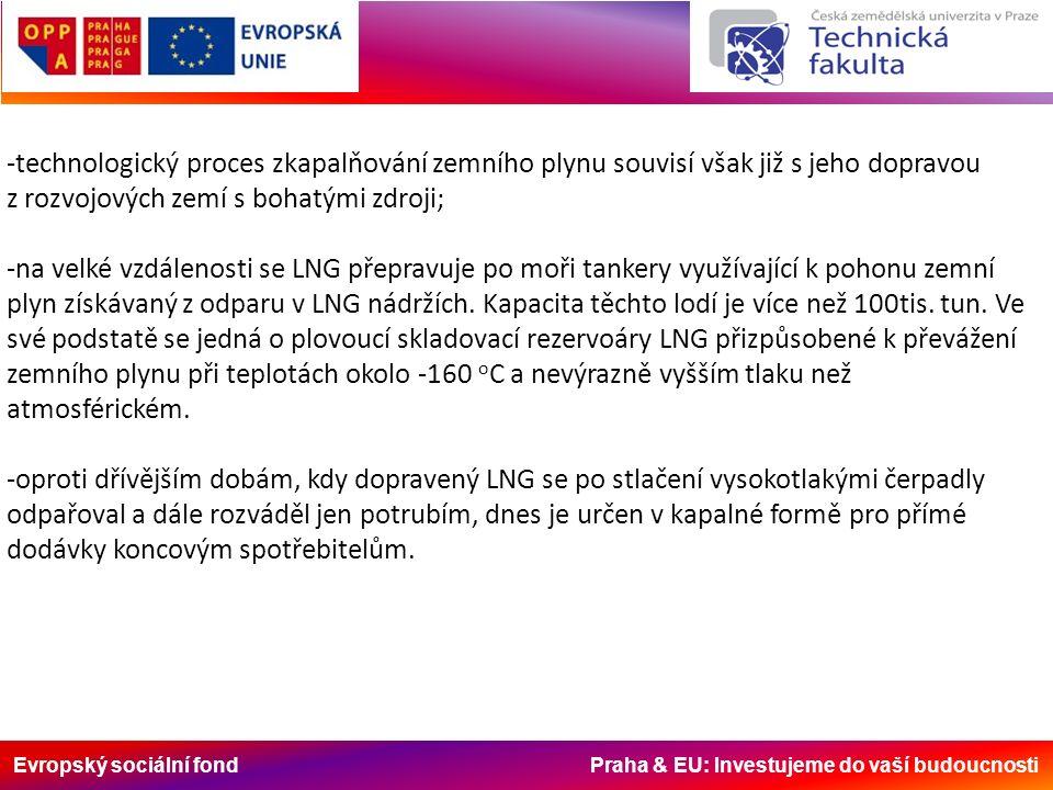 Evropský sociální fond Praha & EU: Investujeme do vaší budoucnosti -technologický proces zkapalňování zemního plynu souvisí však již s jeho dopravou z rozvojových zemí s bohatými zdroji; -na velké vzdálenosti se LNG přepravuje po moři tankery využívající k pohonu zemní plyn získávaný z odparu v LNG nádržích.