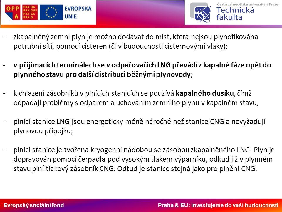 Evropský sociální fond Praha & EU: Investujeme do vaší budoucnosti -zkapalněný zemní plyn je možno dodávat do míst, která nejsou plynofikována potrubní sítí, pomocí cisteren (či v budoucnosti cisternovými vlaky); -v přijímacích terminálech se v odpařovačích LNG převádí z kapalné fáze opět do plynného stavu pro další distribuci běžnými plynovody; -k chlazení zásobníků v plnících stanicích se používá kapalného dusíku, čímž odpadají problémy s odparem a uchováním zemního plynu v kapalném stavu; -plnící stanice LNG jsou energeticky méně náročné než stanice CNG a nevyžadují plynovou přípojku; -plnící stanice je tvořena kryogenní nádobou se zásobou zkapalněného LNG.