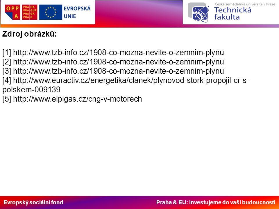Evropský sociální fond Praha & EU: Investujeme do vaší budoucnosti Zdroj obrázků: [1] http://www.tzb-info.cz/1908-co-mozna-nevite-o-zemnim-plynu [2] http://www.tzb-info.cz/1908-co-mozna-nevite-o-zemnim-plynu [3] http://www.tzb-info.cz/1908-co-mozna-nevite-o-zemnim-plynu [4] http://www.euractiv.cz/energetika/clanek/plynovod-stork-propojil-cr-s- polskem-009139 [5] http://www.elpigas.cz/cng-v-motorech