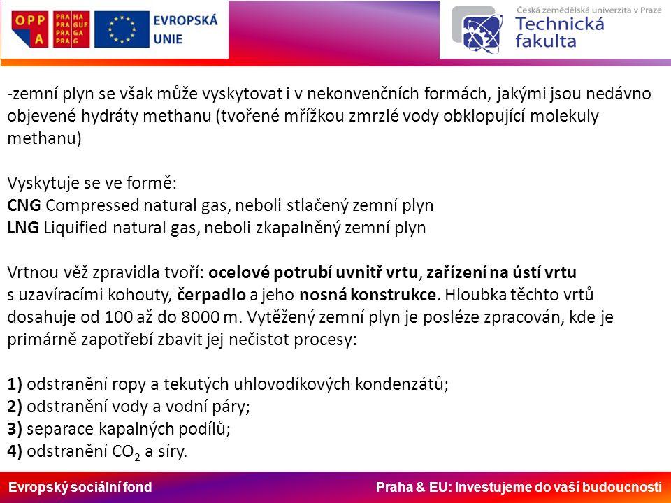 Evropský sociální fond Praha & EU: Investujeme do vaší budoucnosti -zemní plyn se však může vyskytovat i v nekonvenčních formách, jakými jsou nedávno objevené hydráty methanu (tvořené mřížkou zmrzlé vody obklopující molekuly methanu) Vyskytuje se ve formě: CNG Compressed natural gas, neboli stlačený zemní plyn LNG Liquified natural gas, neboli zkapalněný zemní plyn Vrtnou věž zpravidla tvoří: ocelové potrubí uvnitř vrtu, zařízení na ústí vrtu s uzavíracími kohouty, čerpadlo a jeho nosná konstrukce.
