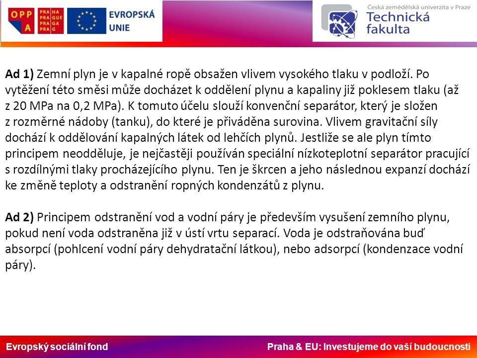 Evropský sociální fond Praha & EU: Investujeme do vaší budoucnosti Ad 1) Zemní plyn je v kapalné ropě obsažen vlivem vysokého tlaku v podloží. Po vytě