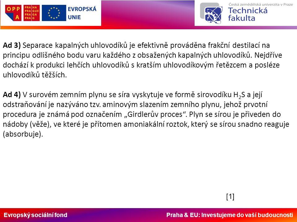 Evropský sociální fond Praha & EU: Investujeme do vaší budoucnosti Ad 3) Separace kapalných uhlovodíků je efektivně prováděna frakční destilací na principu odlišného bodu varu každého z obsažených kapalných uhlovodíků.