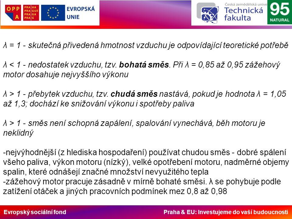 Evropský sociální fond Praha & EU: Investujeme do vaší budoucnosti λ = 1 - skutečná přivedená hmotnost vzduchu je odpovídající teoretické potřebě λ < 1 - nedostatek vzduchu, tzv.