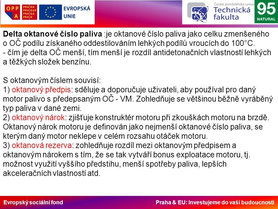 Evropský sociální fond Praha & EU: Investujeme do vaší budoucnosti Delta oktanové číslo paliva :je oktanové číslo paliva jako celku zmenšeného o OČ podílu získaného oddestilováním lehkých podílů vroucích do 100°C.