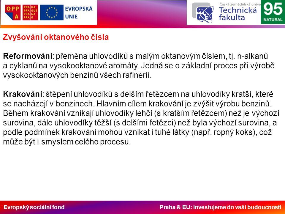 Evropský sociální fond Praha & EU: Investujeme do vaší budoucnosti Zvyšování oktanového čísla Reformování: přeměna uhlovodíků s malým oktanovým číslem, tj.